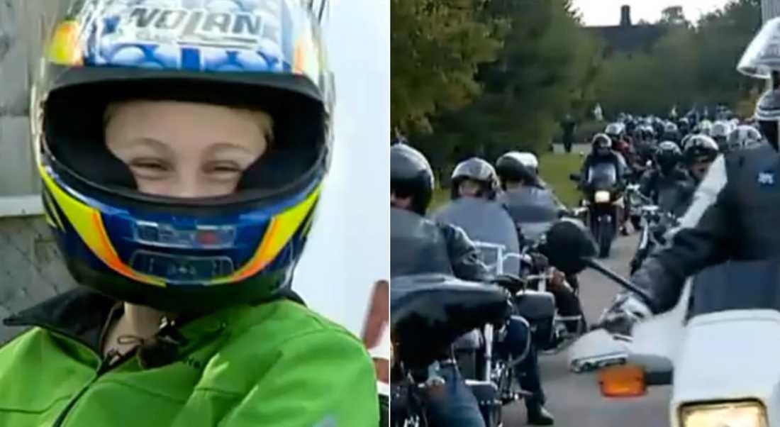 10-årige Nicklas fick stöd av mc-knuttarna.