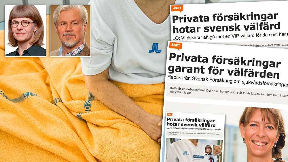 Privata sjukvårdsförsäkringar skapar genvägar till vård för de som har råd. De undergräver tilliten till den offentligt finansierade vården. De undergräver också medborgarnas vilja att solidariskt finansiera hälso- och sjukvård efter behov via skatten, skriver Torbjörn Johansson och Ulrika Lorentzi, LO.