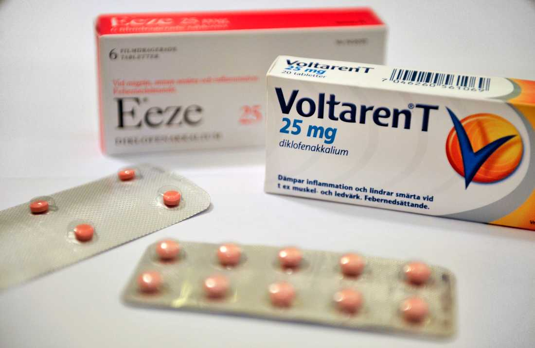 Diklofenak som finns i smärtstillande läkemedel som Voltaren och Eeze, och såldes tidigare receptfritt på apotek. Numera säljs det endast receptfritt som gel och spray, men det vill Svenskt vatten sätta stopp för. Arkivbild.