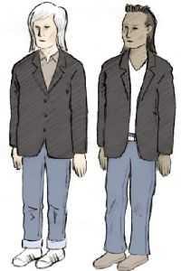 Jagade Man, cirka 20 år, 170 – 175 centimeter lång, långt ljust hår, klädd i svart kavaj, jeans och ljusa tennisskor.  Man, 20 - 25 år, 170 –175 centimeter lång, svart, kort hår på hjässan ,längre i nacken, en så kallad hockeyfrilla. Klädd i svart kavaj, jeans och ljus, v-ringad tröja.  Teckningarna är gjorda efter polisens signalement och återger inte utseendet exakt.  Tipsa polisen: 08-4010474