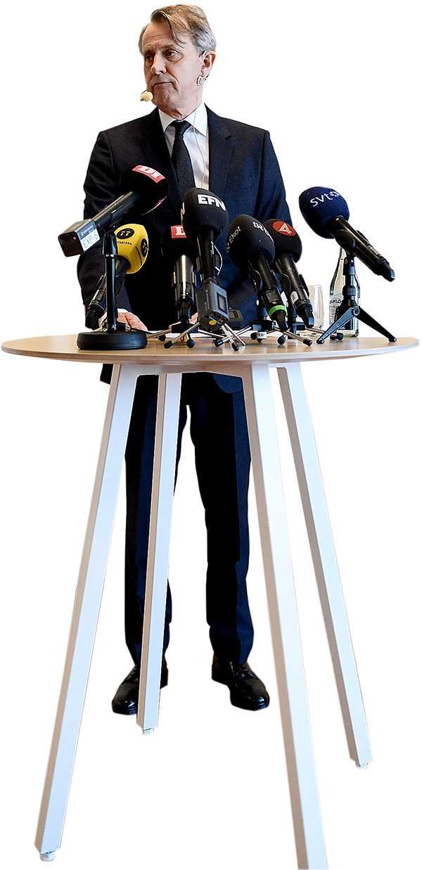 Anders Sundström på pressträffen i går.