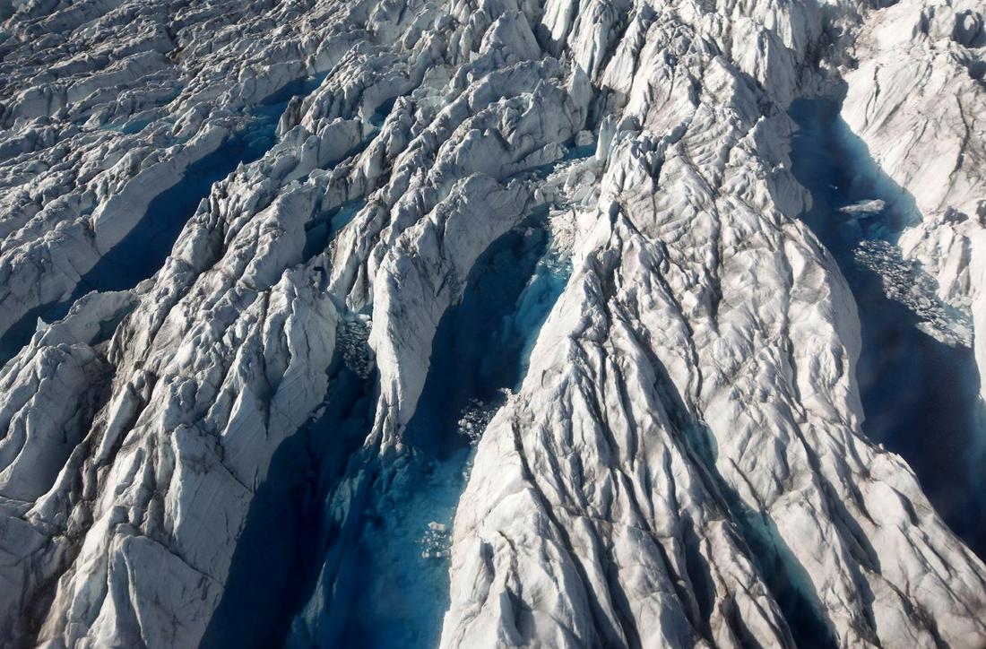 Smältande glaciär på Grönland.