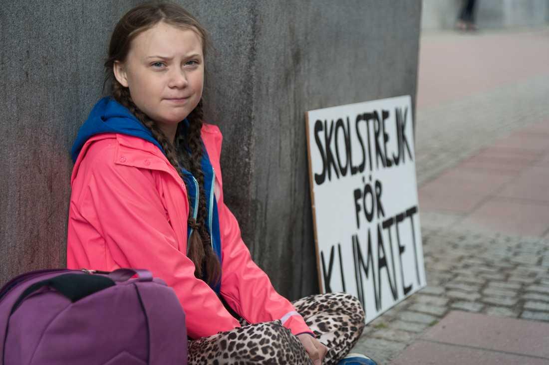 Greta skolstrejkar – för klimatets skull.