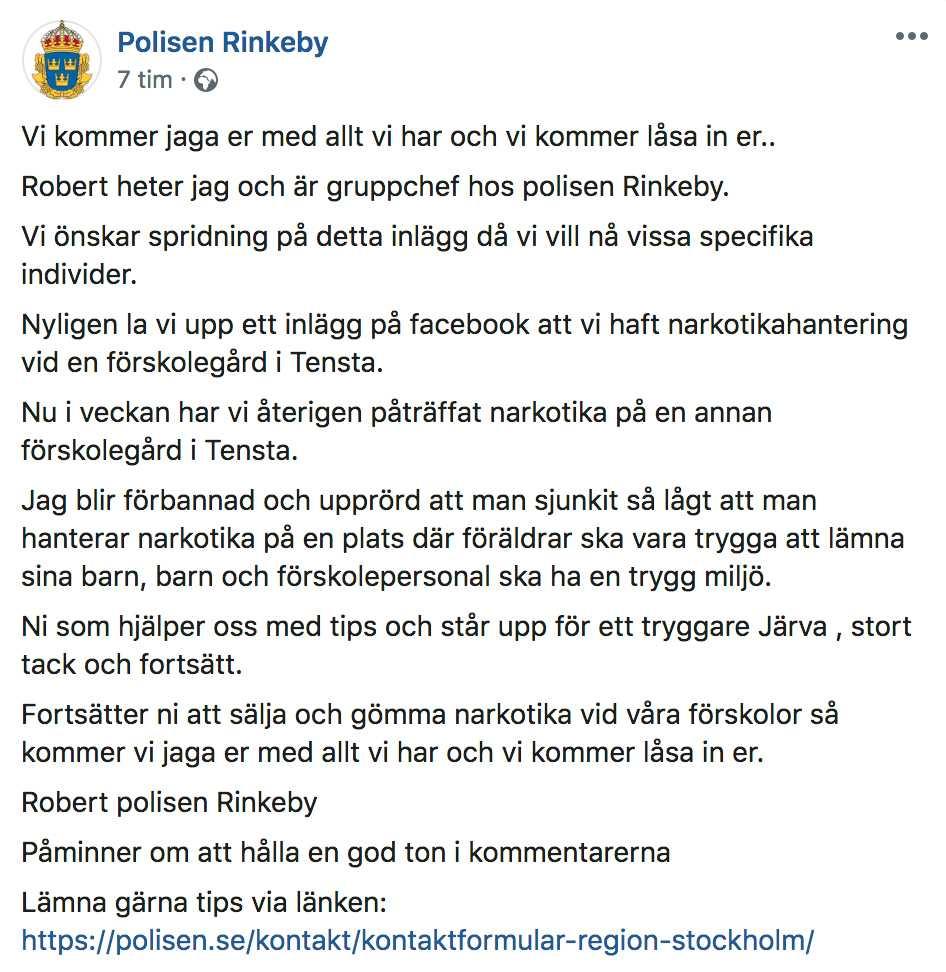 Rinkebypolisens inlägg på Facebook.