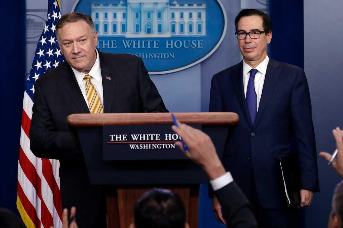 USA:s utrikesminister Mike Pompeo och finansminister Steven Mnuchin.