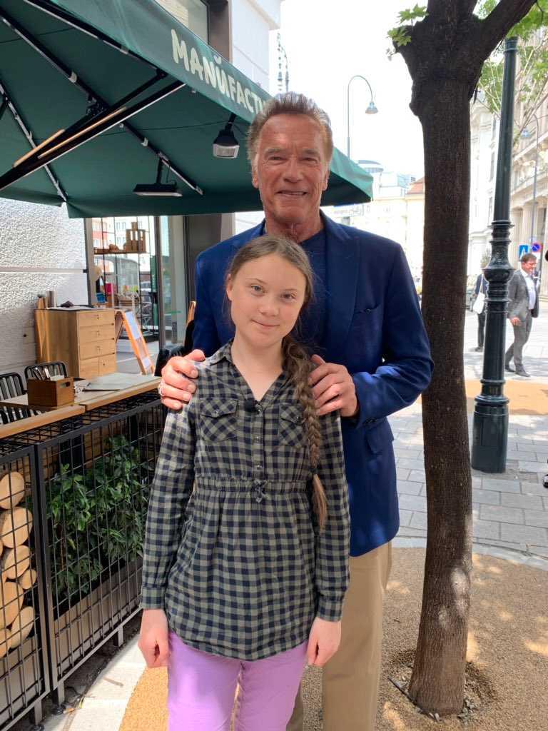 Arnold Schwarzenegger och Greta Thunberg.