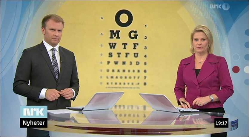 Ingen på NRK hade upptäckt att syntestet i bakgrunden bestod av kända internetförkortningar.