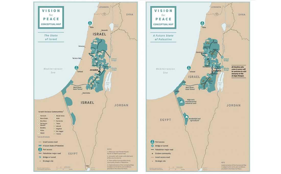 Föreslagna gränsdragningar mellan Israel och ett självständigt Palestina. Områden på den ockuperade Västbanken, inklusive befintliga bosättningar, föreslås ingå i Israel.