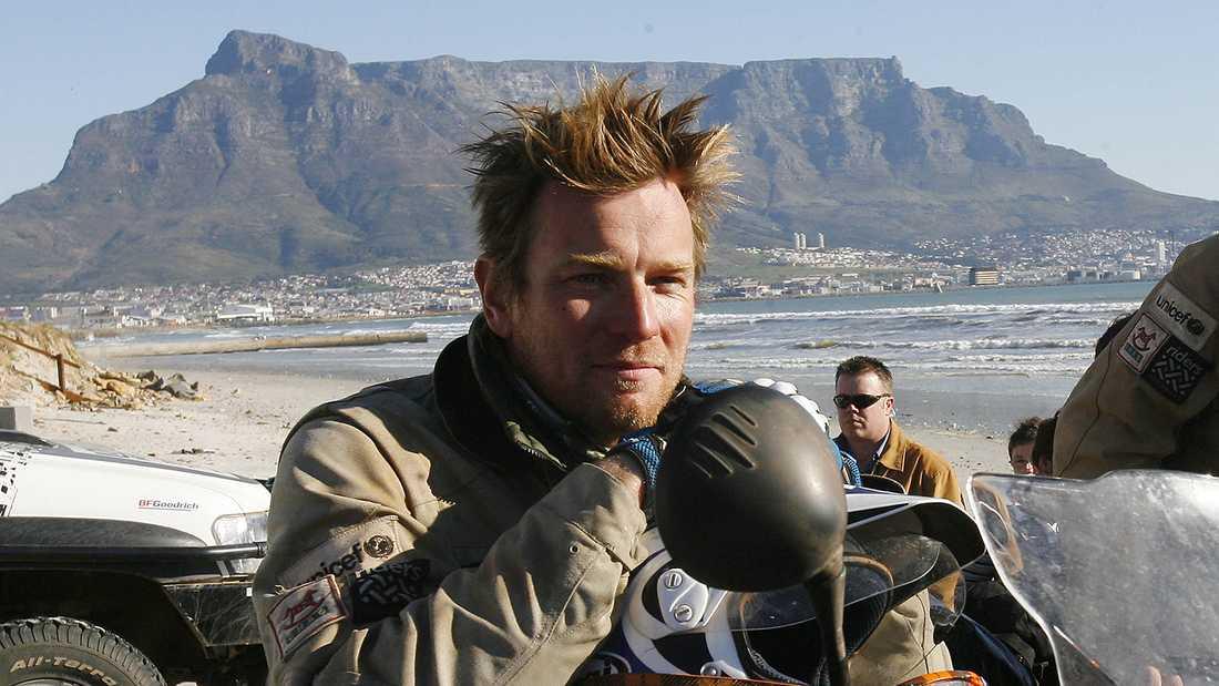 Ewan McGregor vid målet i Sydafrika.