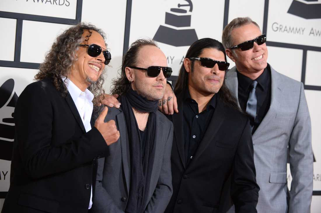 Metallica med Lars Ulrich som nummer två från vänster.