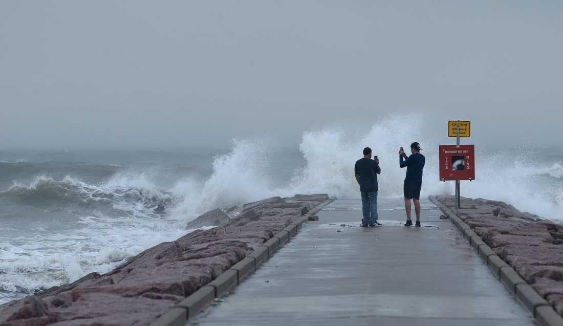 Vågor genererade av ovädret Laura slår mot Galveston, Texas inför stormens ankomst.