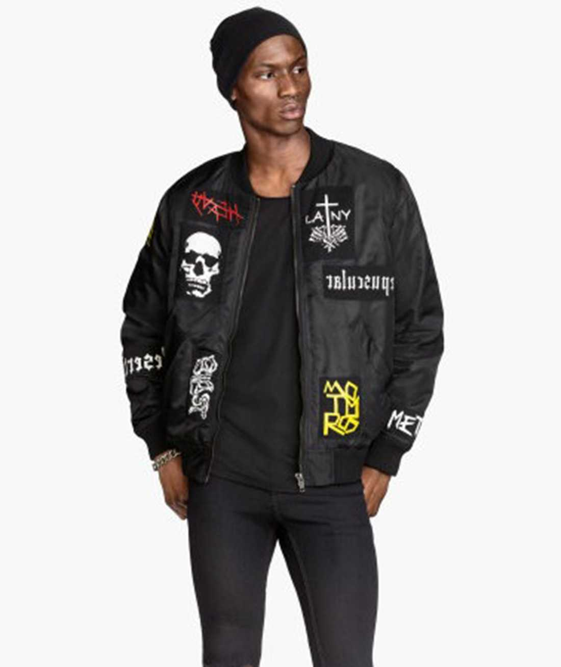 En H&M-jacka med loggor från ett antal band som inte existerat - förrän nu. Foto: H&M.