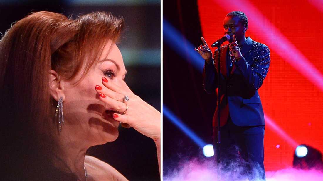 Kishti Tomita rörs till tårar av Tusses sång.