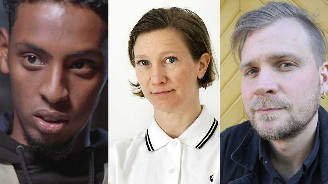 Rasmus Landström, till höger, svarar Jenny Högström om Yasin, gangsterrappen och arbetarlitteraturen.