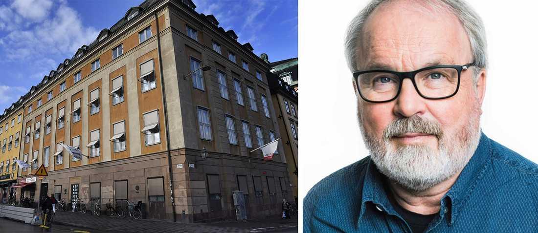 PRO:s huvudkontor vid Slussplan i Stockholm och Ingemar Hamskär, sakkunnig på PRO i pensionärers ekonomi.