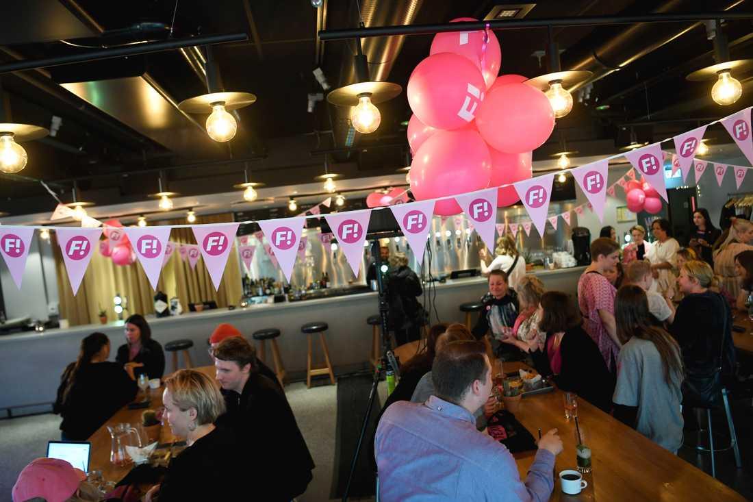 Feministiskt initiativs valvaka på Scandic Malmen i Stockholm.