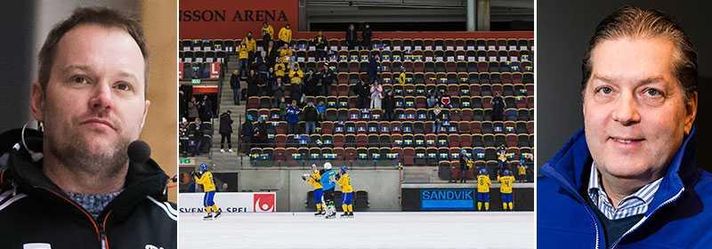 Magnus Muhrén (till vänster) är kritisk mot arrangemanget kring bandy-VM.