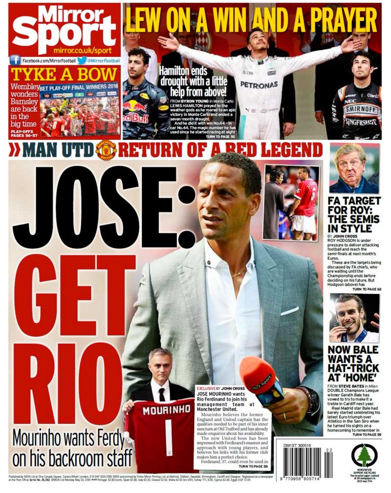 Daily Mirror i dag.
