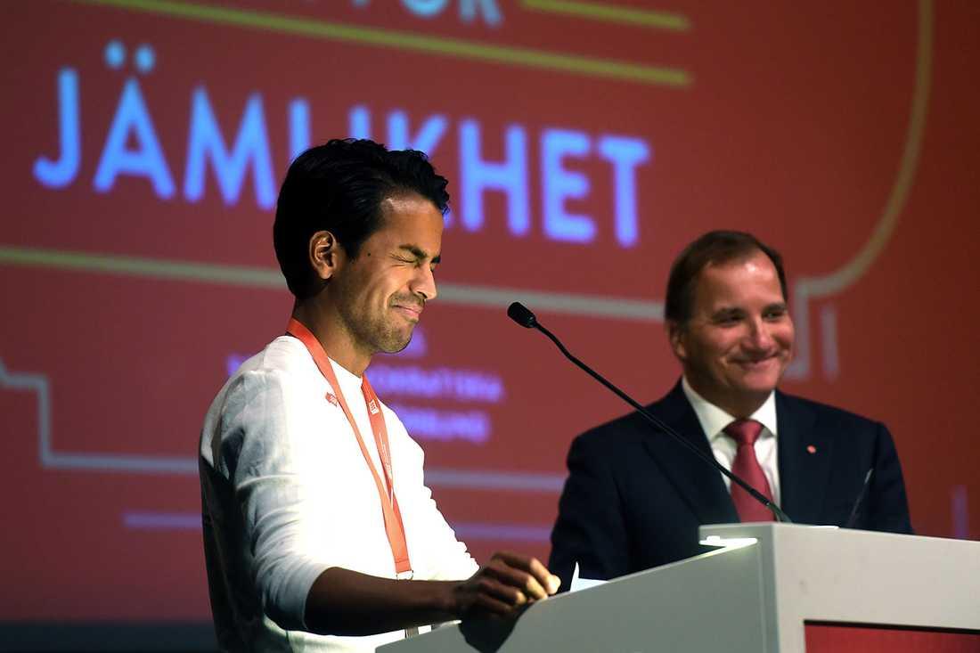 SSU:s ordförande Philip Botström och Stefan Löfven på ungdomsförbundets kongress 2017.