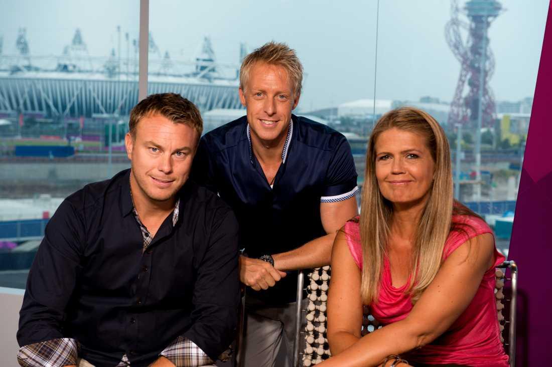 Jonas Karlsson, André Pops och Marie Lehmann i SVT 2012.
