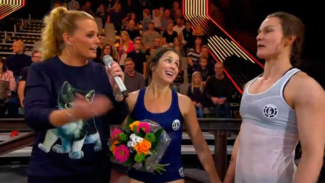 """Sara Somerfeld med Heidi Andersson och programledaren Gry Forssell i """"Gladiatorerna"""""""