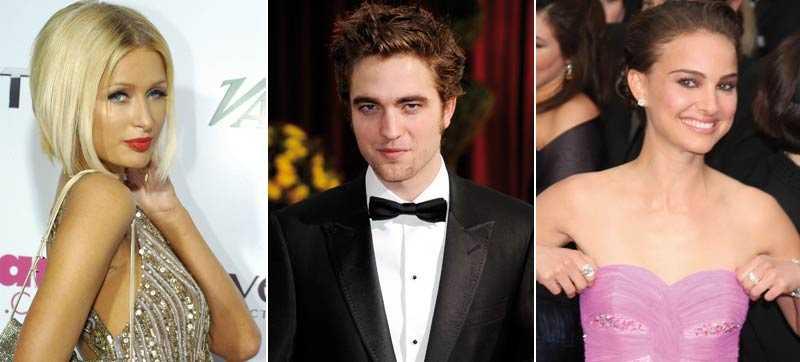 Heta på Robert Paris Hilton och Natalie Portman uppges ha försökt charma Robert Pattinson på Vanity Fairs Oscarfest.