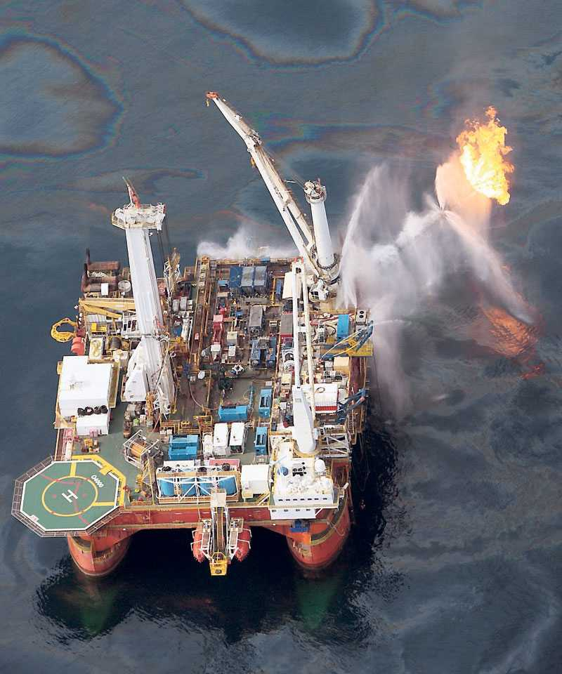 Oljerigg i Mexikanska Golfens katastrofområde.
