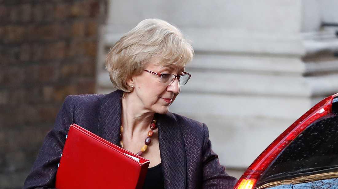 Konservativa partiets majoritetsledare i det brittiska underhuset, Andrea Leadsom. Arkivbild.