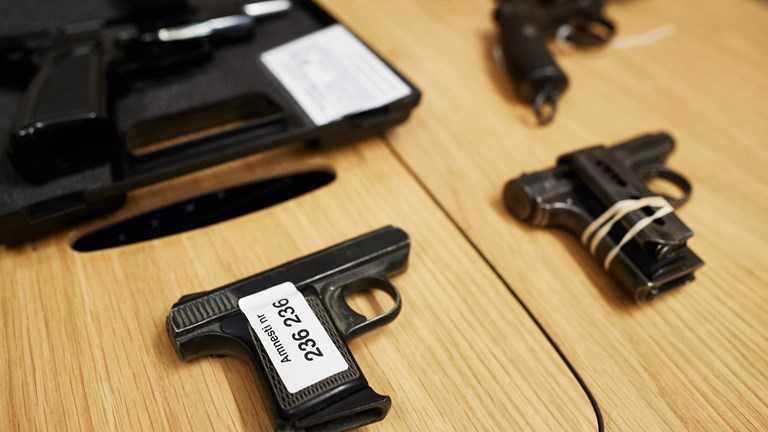 En del av vapnen som lämnats in under amnestin.