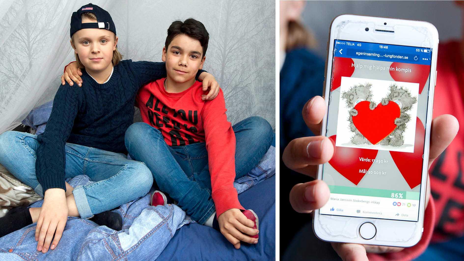 Jonathan, till vänster, föll ihop på väg hem från fjällen. Det visade sig att han hade ett allvarligt hjärtfel. Hockeykompisen Adam bestämde sig direkt för att hjälpa till, och startade en insamling.