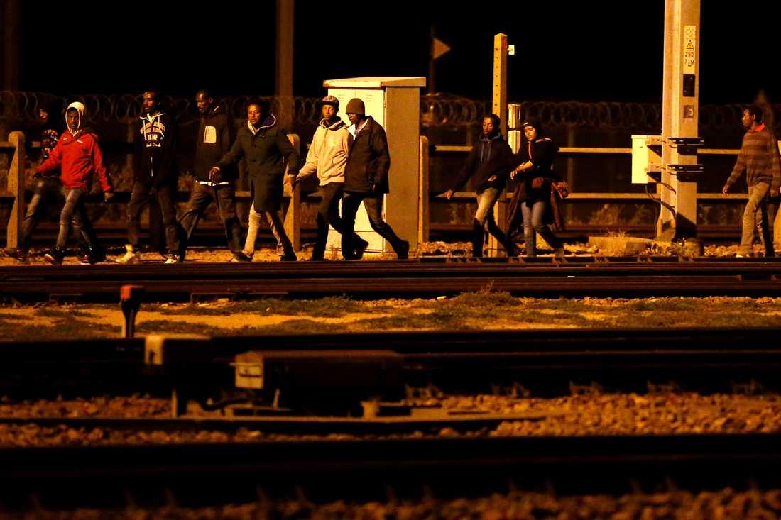Tusentals migranter försökte under natten till måndagen att ta sig från Calais till Storbritannien.