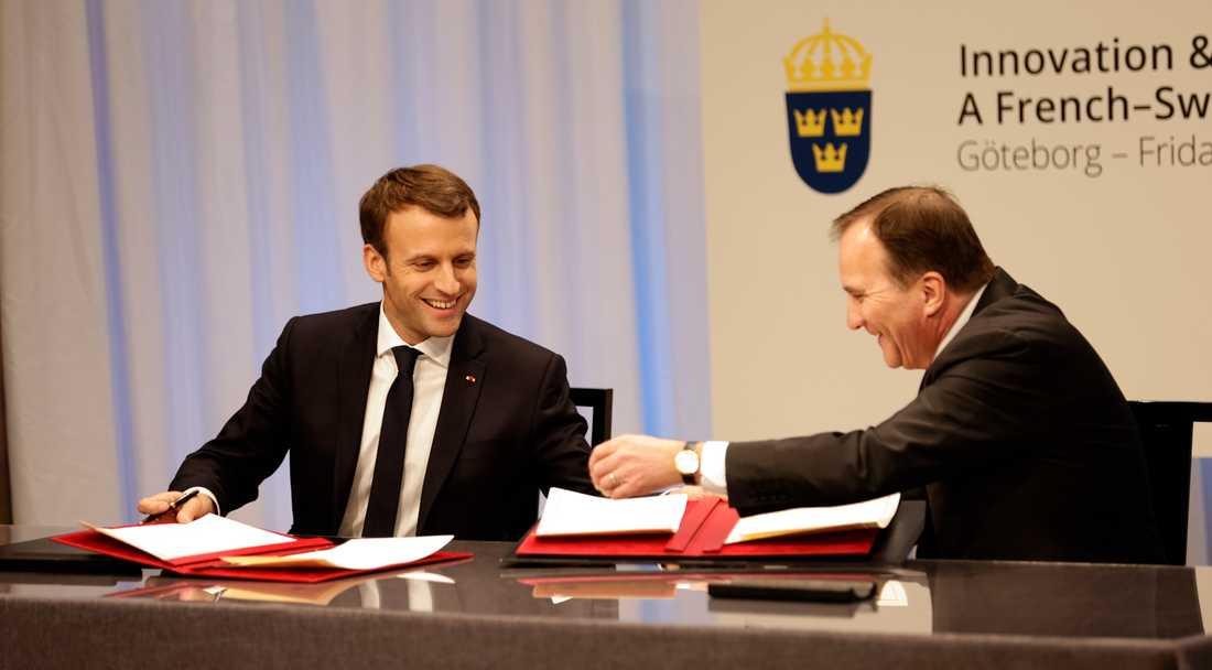Stefan Löfven och Emmanuel Macron under EU-toppmötet i Göteborg 2017.