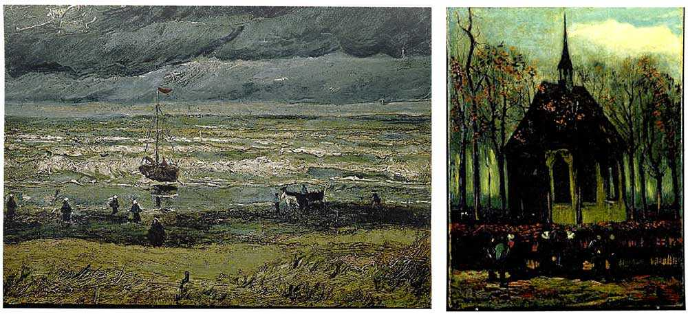 "Vincent van Goghs ""View of the Sea at Scheveningen"", till vänster, och ""Congregation leaving the Reformed Church in Nuenen"" till höger stals från Vincent van Gogh Museum i Amsterdam 2002."