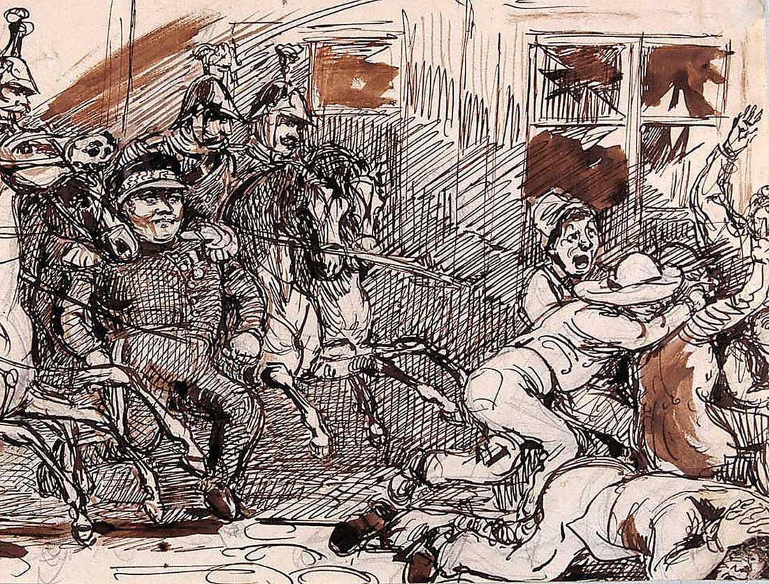 KUNGEN GAV ORDERN I mars 1848 var Stockholm närmare revolutionen än någonsin. Men oroligheterna vann inget större stöd bland allmänheten och kraven på republik slogs ner med vapenmakt. Ovan skildras händelsen i en akvarell av Fritz von Dardel, om än  i något beskuren form.