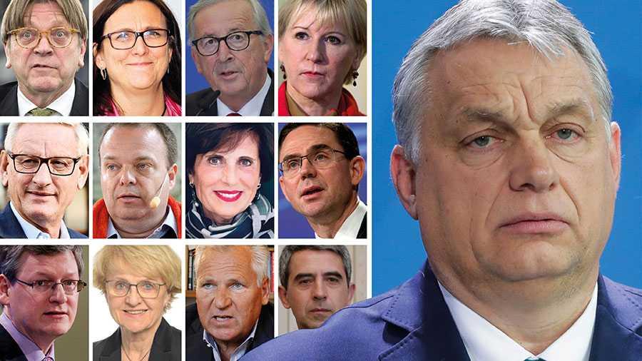 Vi uppmanar vi alla EU:s medborgare att se på utvecklingen i Ungern som ett hot mot våra gemensamma intressen. Det är dags för oss att enas i denna kamp. Vad som står på spel är våra demokratiers och EU:s framtid, skriver 73 tidigare regeringschefer, politiker med flera. På bilden Guy Verhofstadt, Cecilia Malmström, Jean-Claude Juncker, Margot Wallström, Carl Bildt, Sven Otto Littorin, Francesca Ratti, Jyrki Katainen, Lazlo Andor, Danuta Hübner, Aleksander Kwasniewski och Rosen Plevneliev. På stora bilden Ungerns premiärminister Viktor Orbán.