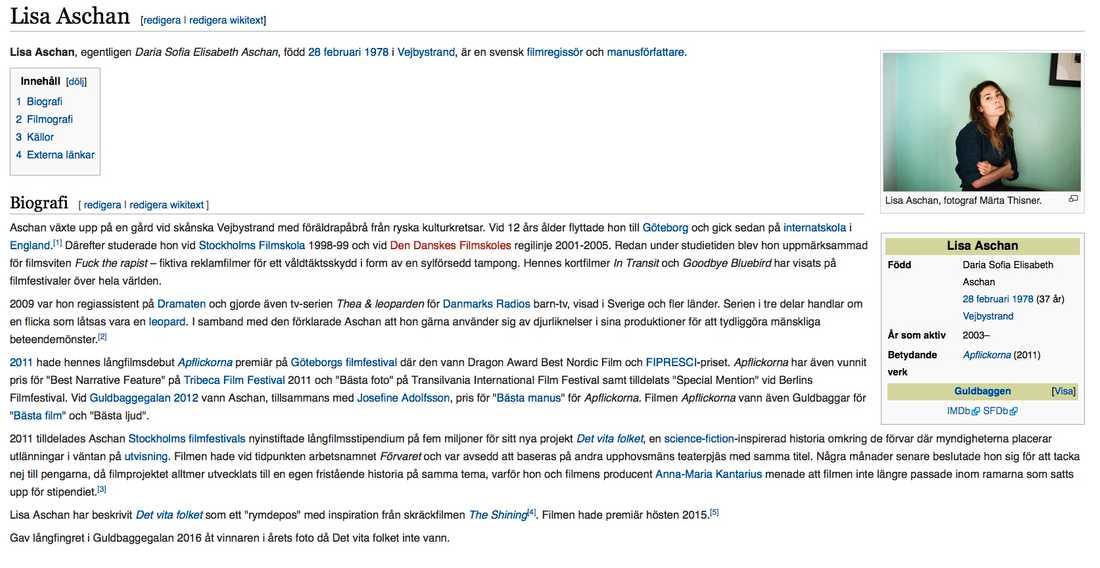Regissörens Wikipediasida har redan ändrats.