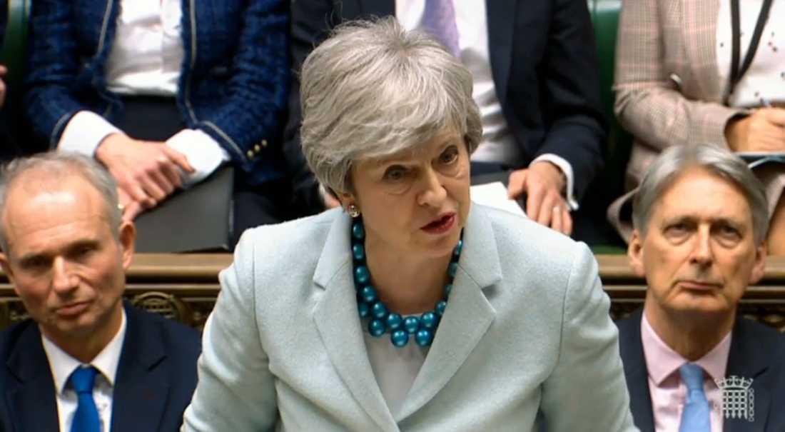Premiärminister Theresa May under ett anförande i underhuset.