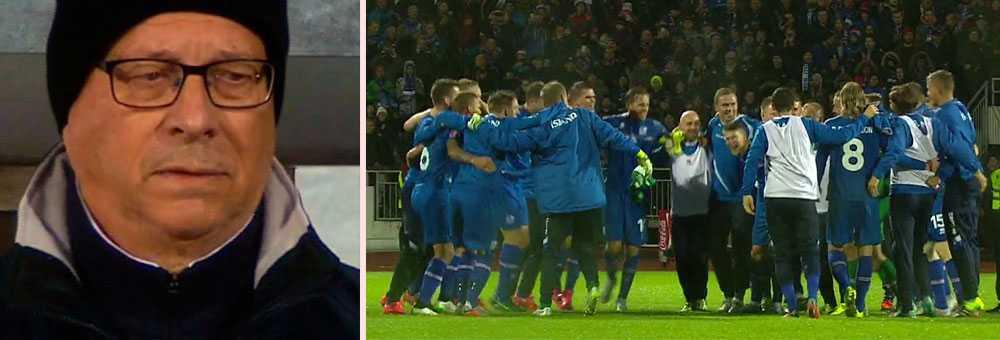 Lars Lagerbäck fångad på bild – när Island blev EM-klart