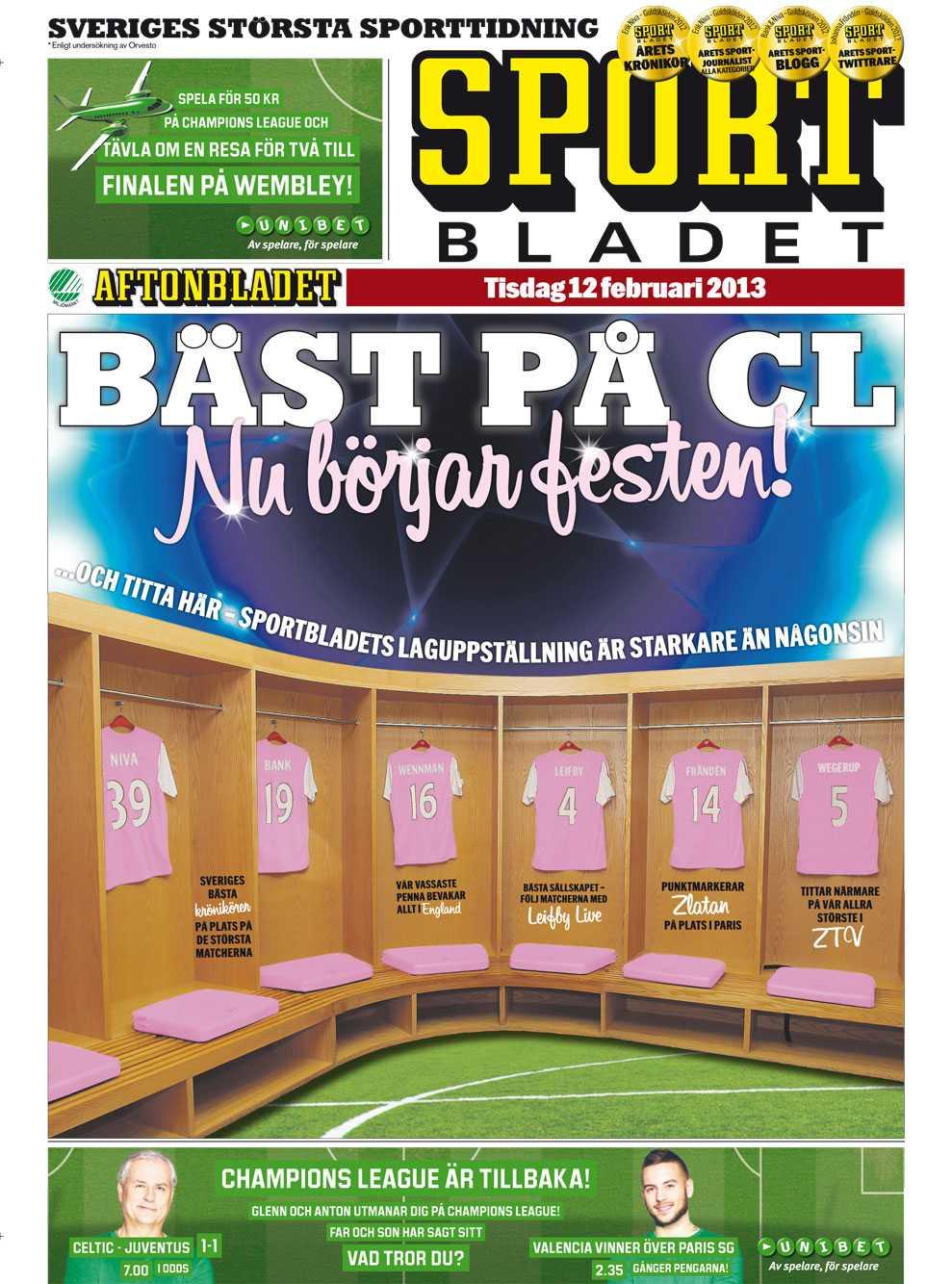Sportbladets förstasida 12 februari.