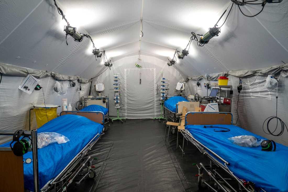 En av intensivvårdssalarna i fältsjukhuset i Göteborg. Arkivbild.