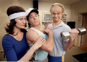 """skojfriska Christine Meltzer, david Hellenius och Peter Magnusson gör under våren humorprogrammet """"Hey Baberiba""""."""