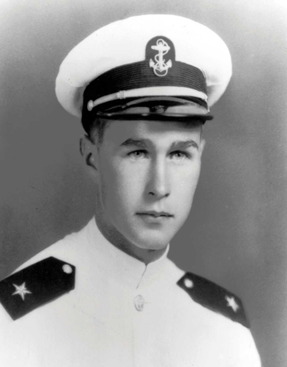 George H. W. Bush, in uniform as a Naval Aviator Cadet, is pictured in this early 1943