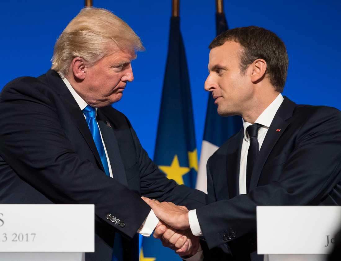 USA:s president Donald Trump och Frankrikes president Emmanuel Macron.