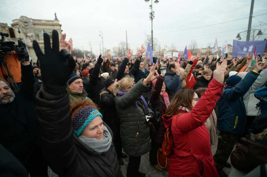 Människor som protesterar mot det som kritiker kallar slavlagen, Budapest 19 januari. Arkivbild.