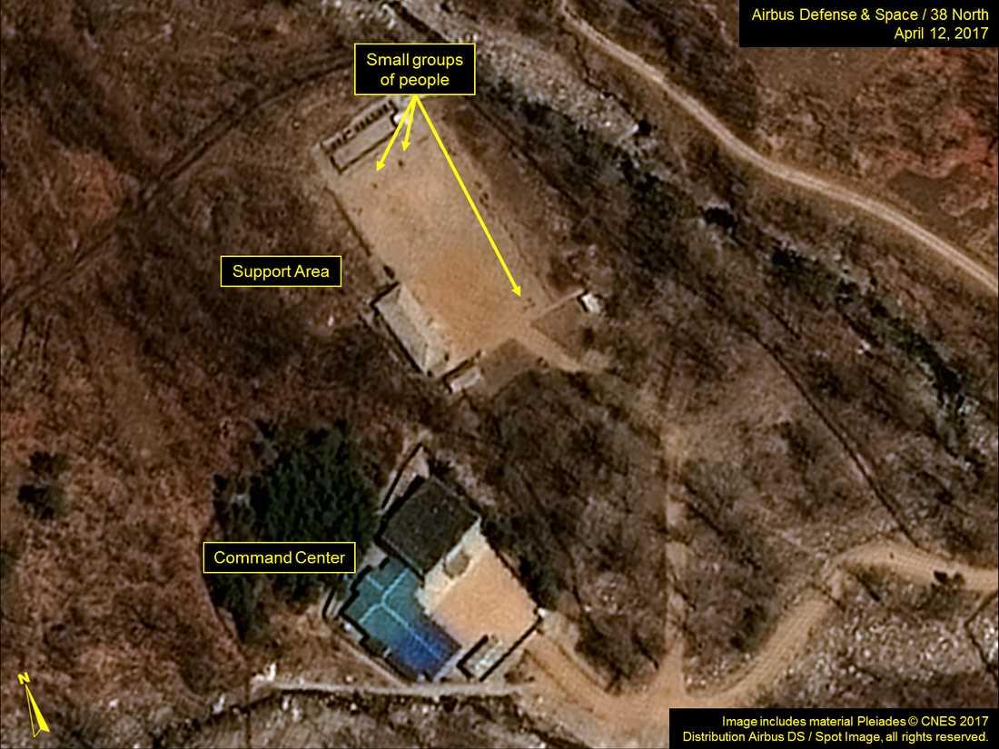 Satellitbild från kärnvapenanläggningen Punggye-ri.
