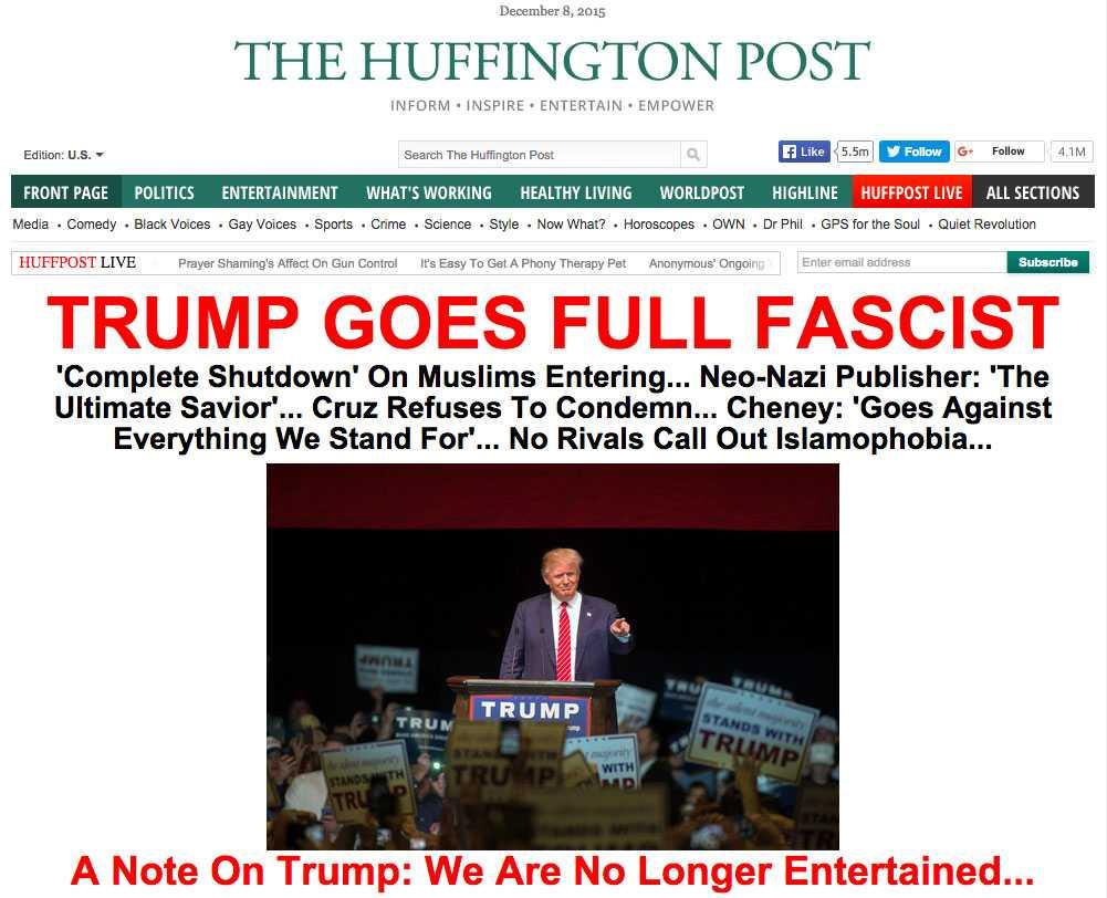 """Nättidningen The Huffington Posts rubrik: """"TRUMP GOES FULL FASCIST"""" (fritt översatt """"Trump blir fullblodig fascist"""")."""