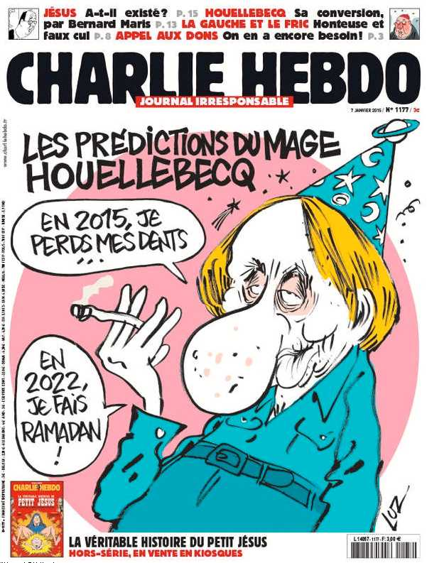 Senaste numret av Charlie Hebdo.