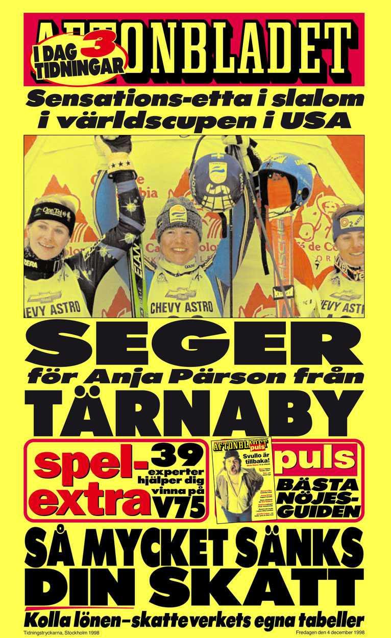 1998 Aftonbladets löpsedel efter den sensationella världscupsegern i USA.