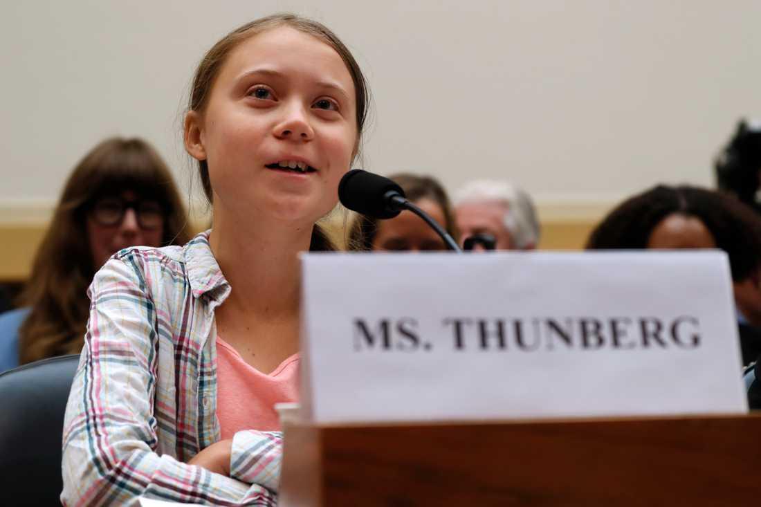 Greta Thunberg talar i amerikanska kongressen.