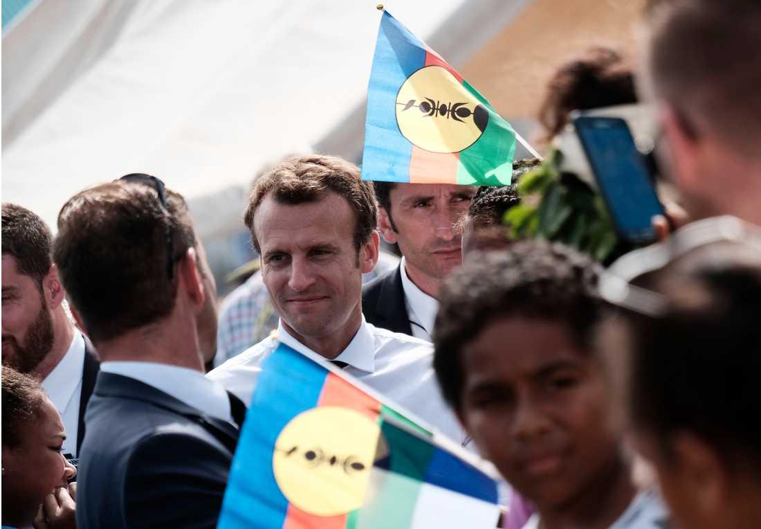 Frankrikes president Emmanuel Macron i Nya Kaledonien i maj i år. Arkivbild.